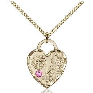 Footprints Heart Pendant - October Birthstone - Gold Filled #88664