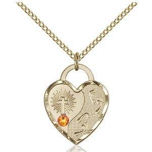 Footprints Heart Pendant - November Birthstone - Gold Filled #88665