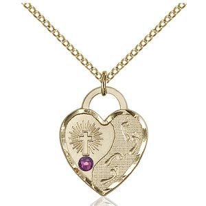 Footprints Heart Pendant - February Birthstone - Gold Filled #88667