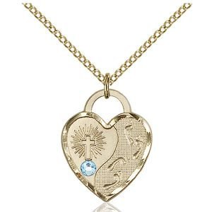 Footprints Heart Pendant - March Birthstone - Gold Filled #88668