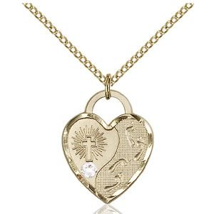 Footprints Heart Pendant - April Birthstone - Gold Filled #88669