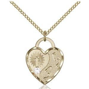 Footprints Heart Pendant - April Birthstone - Gold Filled #88669