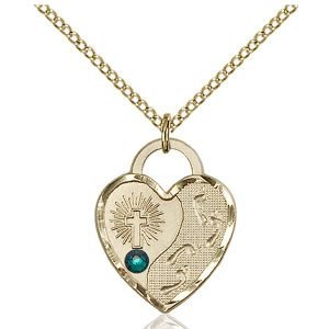 Footprints Heart Pendant - May Birthstone - Gold Filled #88670