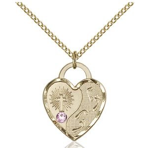 Footprints Heart Pendant - June Birthstone - Gold Filled #88671