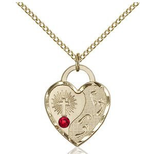 Footprints Heart Pendant - July Birthstone - Gold Filled #88672