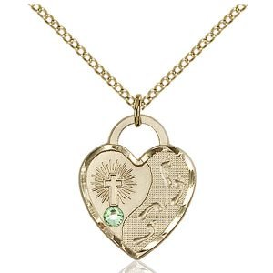 Footprints Heart Pendant - August Birthstone - Gold Filled #88673