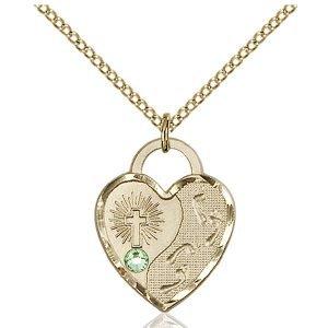 Footprints Heart Pendant - August Birthstone - Gold Filled #88673