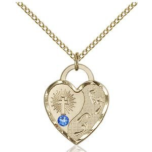 Footprints Heart Pendant - September Birthstone - Gold Filled #88674