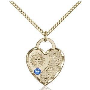 Footprints Heart Pendant - September Birthstone - Gold Filled #88674