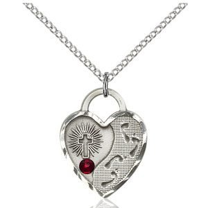 Footprints Heart Pendant - January Birthstone - Sterling Silver #88687