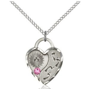 Footprints Heart Pendant - October Birthstone - Sterling Silver #88688