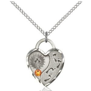 Footprints Heart Pendant - November Birthstone - Sterling Silver #88689