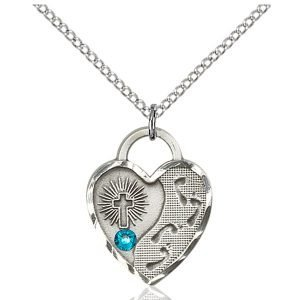 Footprints Heart Pendant - December Birthstone - Sterling Silver #88690