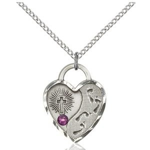 Footprints Heart Pendant - February Birthstone - Sterling Silver #88691