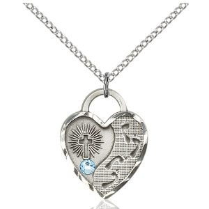 Footprints Heart Pendant - March Birthstone - Sterling Silver #88692