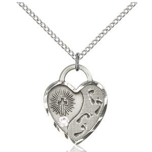 Footprints Heart Pendant - April Birthstone - Sterling Silver #88693