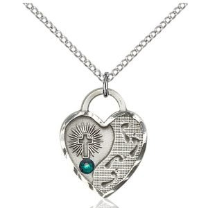 Footprints Heart Pendant - May Birthstone - Sterling Silver #88694