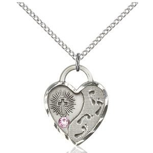 Footprints Heart Pendant - June Birthstone - Sterling Silver #88695