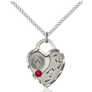 Footprints Heart Pendant - July Birthstone - Sterling Silver #88696