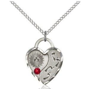 Footprints Heart Pendant - July Birthstone - Sterling Silver #88696