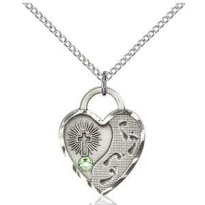 Footprints Heart Pendant - August Birthstone - Sterling Silver #88697