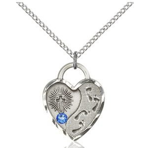 Footprints Heart Pendant - September Birthstone - Sterling Silver #88698
