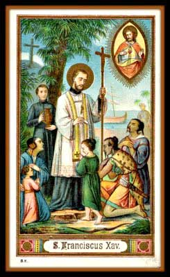 Holy card depicting St Francis Xavier