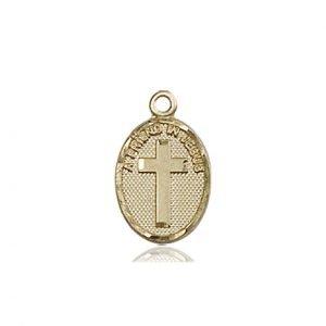 14kt Gold Friend In Jesus Cross Medal #87350