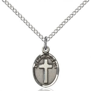 Sterling Silver Friend In Jesus Cross Necklace #87351