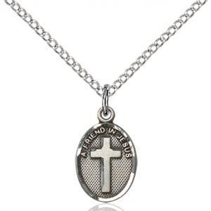 Sterling Silver Friend In Jesus Cross Necklace #87351