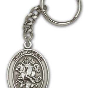 Antique Silver St George Keychain