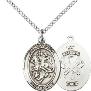 Sterling Silver St. George - Nat'L Guard Pendant