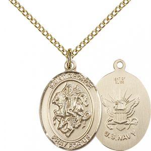 14kt Gold Filled St. George - Navy Pendant