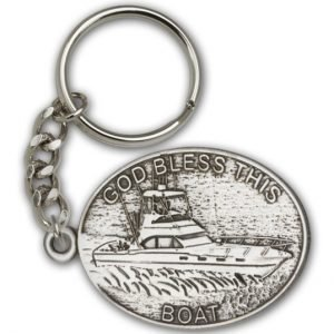 Antique Silver God Bless This Boat Keychain