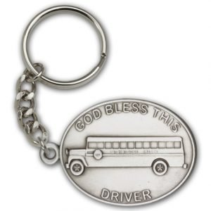 Antique Silver God Bless This Bus Driver Keychain