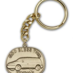 Antique Gold God Bless This Minivan Keychain