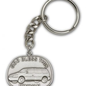 Antique Silver God Bless This Minivan Keychain
