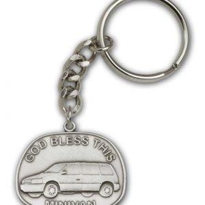 Antique Silver God Bless This Minivan Keychain