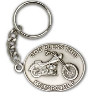 Antique Silver God Bless This Motorcycle Keychain