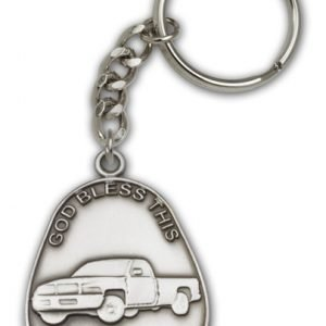 Antique Silver God Bless This Pickup Keychain
