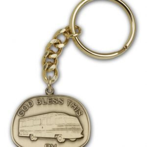 Antique Gold God Bless This Rv Keychain