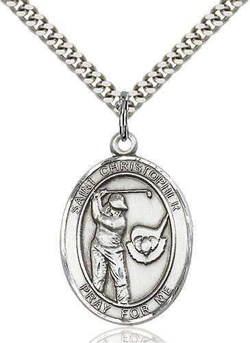 Sterling Silver St. Christopher / Golf Pendant