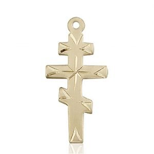 14kt Gold Greek Orthadox Cross Medal #87662