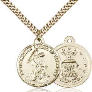 14kt Gold Filled Guardain Angel - Air Force Pendant
