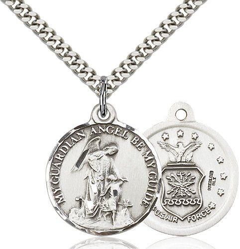 Sterling Silver Guardain Angel - Air Force Pendant