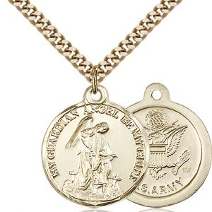 14kt Gold Filled Guardain Angel - Army Pendant