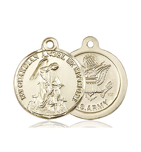 14kt Gold Guardain Angel - Army Medal