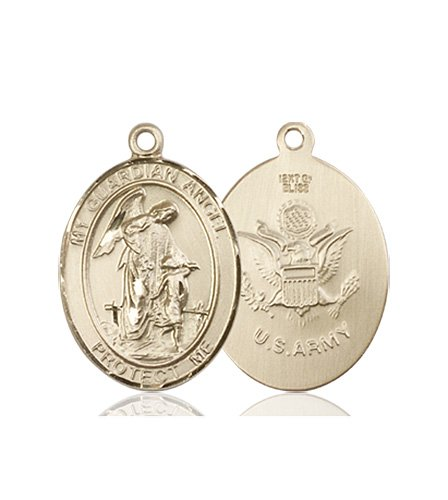 14kt Gold Guardian Angel - Army Medal