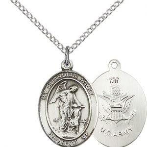 Sterling Silver Guardian Angel - Army Pendant