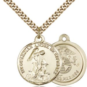 14kt Gold Filled Guardain Angel - Marines Pendant